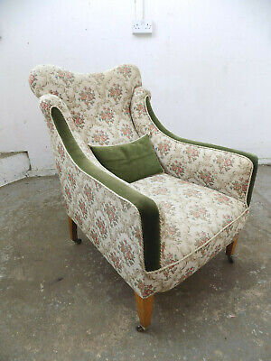 arm chair,green,floral fabric,castors,fireside chair,chair,antique,edwardian