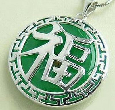Fashion Emerald Green Jade Fortune Luck White Gold Plated Pendant Chain Necklace