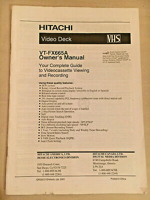 Hitachi Video Deck VHS VT-FX-665A Owner's Manual