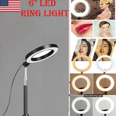 "6"" LED Ring Light w/ Stand 5500K Dimmable Lighting Kit Makeup Phone Camera USA"