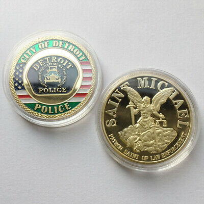 US Detroit Police Department St. Michael Token Challenge Coin Collectible Gift