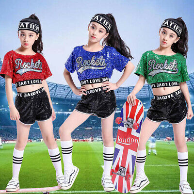Street Dancewear Girls Sequins Costume Jazz Hip-Hop Kid Dance Performance Party