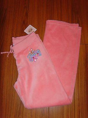 NEW Juicy Couture Kids Girls Pink Cheek velour floral trackpants size L
