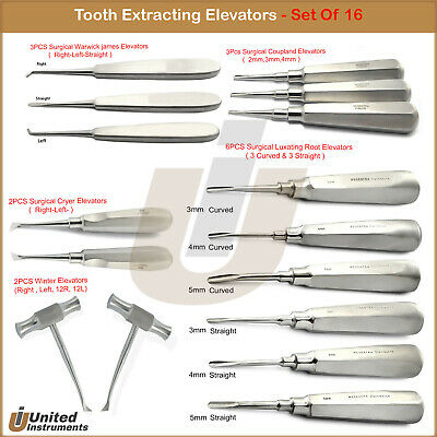 16Pcs DEAL Dental Elevators Set Surgical Luxating Tooth Extraction Elevator Kit
