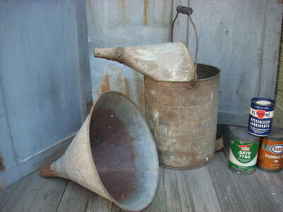 """Vintage LARGE 15"""" Funnel & 17"""" Radiator Gas Oil Water Can Garage Farm Machinery"""
