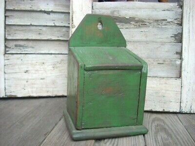 Antique Primitive Pennsylvania Wall Hanging Painted Salt Box Folk Art AAFA