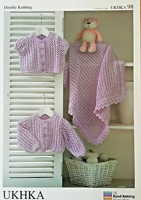 Baby Knitting Pattern NEW UKHKA 98 -  Cardigans & Blanket Knitted in DK Wool
