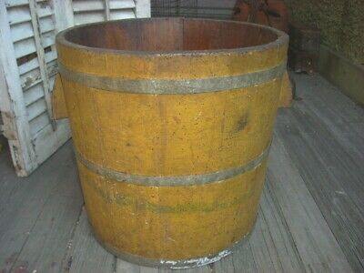 "Antique Primitive Staved Wood Bucket Mustard Paint Wood handles Large 14"" tall"