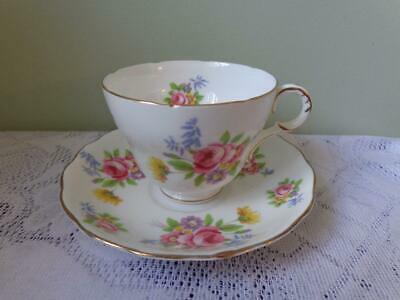 Melba Bone China Large Pink Rose Floral Footed Cup & Saucer