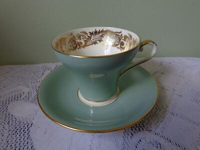 Aynsley Bone China Khaki Green/Interior Heavy Gold Scroll Corsetted Cup & Saucer