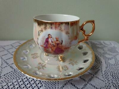 Japan Fine China Pearl Lustre Victorian Scene Tri Footed Cup/ Reticulated Saucer