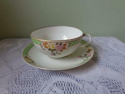Nippon Hand Painted Green Banded & Floral Bowled Cup & Saucer