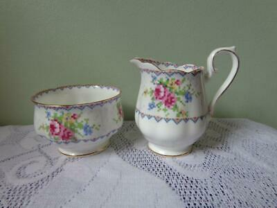 Royal Albert Bone China Petit Point Open Sugar Bowl & Creamer