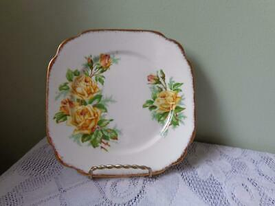 Royal Albert Bone China Yellow Tea Rose Square Bread & Butter Plate