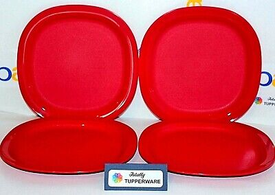 """Tupperware Plates Set of 4 Dessert Luncheon 7.75"""" Dishes Opaque Bright Red"""