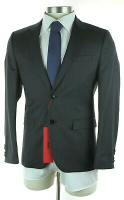af77be8f4 NWT HUGO BOSS RED LABEL Astian Hets Solid Charcoal Wool Extra Slim Fit Suit  38 S