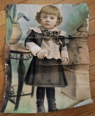 "Antique Portrait of a Little Girl on Cloth Paper 17.5"" x 13"" Victorian Edwardian"