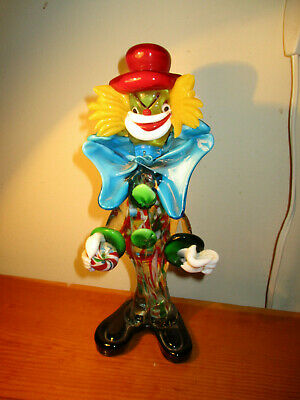"""Murano Glass Clown 10"""" blue bow tie red hat with marble or ball"""