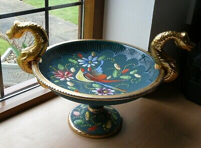 Ornate Hand Painted, Incised & Heavy Enamelled China Tazza/Comport French ? VGC