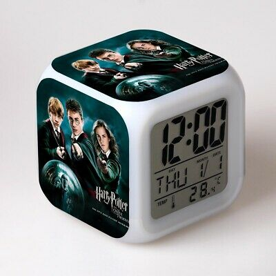Harry Potter Hermione Ron 7-Color Changing Cartoon Home Alarm Clock in Box Gift