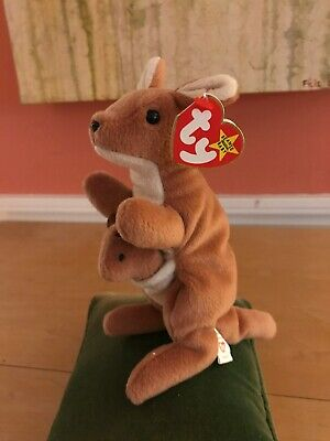 d6d1f108f0e Ty Retired Original Beanie Baby Pouch The Kangaroo   Joey Style  4161 11-06