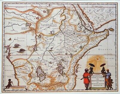 Vintage Map Print For Framing Of An Antique Circa 1650 Map Of  Ethiopia Africa