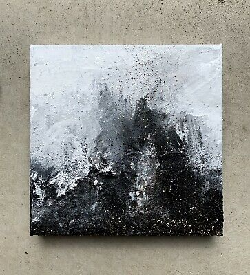 Modern Original Abstract Canvas Painting Gold  Black And White Heavy Texture