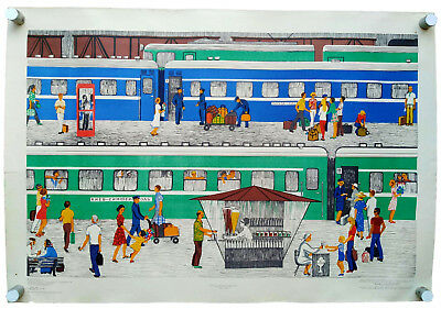 Soviet Railway Station & Foreign Citizens  Learn Russian Language Vintage Poster
