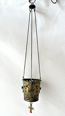 Ancient Antique Hanging bronze Orthodox Lamp Byzantine with 4 small crosses