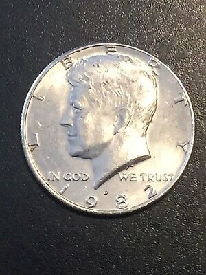 1982 D Kennedy Half Dollar, Circulated, Low mintage! In 2 X 2, Rarer Coin!