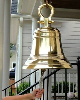 HUGE 18 Inch Ridged Polished Brass Bell with Shackle-82 pounds!