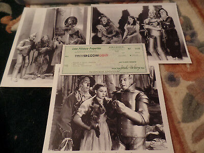JACK HALEY auto hand SIGNED autograph CHECK + 3 PHOTO 1939 TIN MAN WIZARD OF OZ