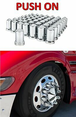 "(Set/60) Chrome Pointed Lug Nut Covers 33mm Push-On (3-3/16"" Tall) 60-Pack"