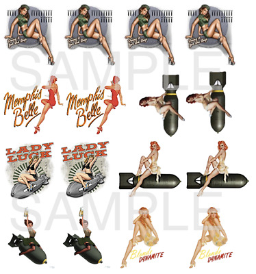 """Nose Art Pin Ups Water Slide Decals model airplane pin up girls 3/4"""" to 1"""" each"""