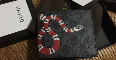 6dbe6a2af57f Gucci KingSnake Wallet Supreme Black GG Wallet Leather Bifold with White Box