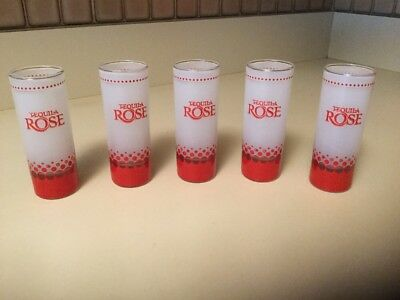 Lot of 5 Tequila Rose Strawberry Cream Tall Shot Glasses Frosted With Red