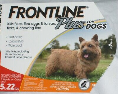 FRONTLINE PLUS Dogs 5 - 22 lbs Flea Tick Control One Dose 1 Month EPA Approved