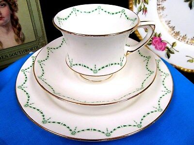 Star Paragon Tea Cup And Saucer Trio Deco Design Green Accents Teacup Pattern