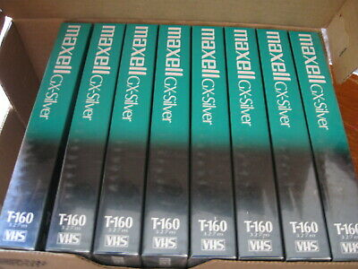 NEW LOT of 8 Maxwell Video Cassette GX-Silver High Quality T-160 8 hour VHS