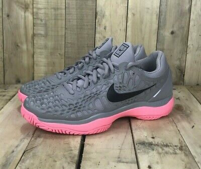 5a04c9c18c00 Nike Zoom Cage 3 Hard Court Tennis Shoes Mens Size 8.5 New Rafa Nadal Grey  Pink