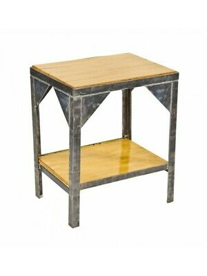 Two Tier Stationary End Table With Newly Added Varnished Maple Wood Inlay