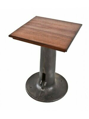 1920S Cast Iron Machine Pedestal Base With Newly Added Mahogany Wood Tabletop