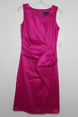 689c7bfd S Frank Lyman Designs Fuchsia Pink Ruched Waist Cocktail Dress Size 8 *