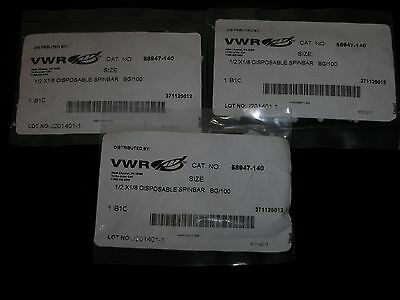 "3 Packs of 100 VWR Scientific 58947-140 Magnetic Stir Bars ½ x ⅛"" (300 in total)"