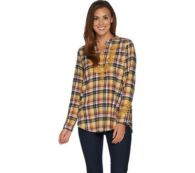 LOGO by Lori Goldstein Womens 4 Flannel Woven Plaid Top Embroidery Yellow 465