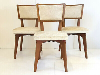 Suite of 3 Chairs Vintage Wood & Skai 1950 Vintage 50s 50'S Years 50