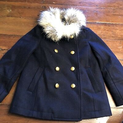 20238fa453c Crewcuts Faux Fur Collar Peacoat Wool Pea Coat Blue Gold Jacket E1173 Girl  4-5