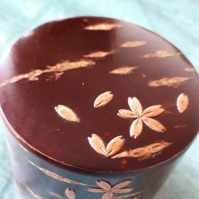 Japanese Tea Caddy Cherry Bark Crafts 6.5 cm Chazutsu Vintage Very Rare F/S X8