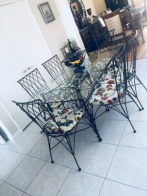 VIntage Iron Kitchen compact Table glass Top 6 chairs + 3 extra accessories