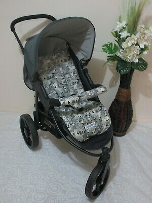 Handmade pram liner set-Jungle animals-grey-100% cotton*Funky babyz